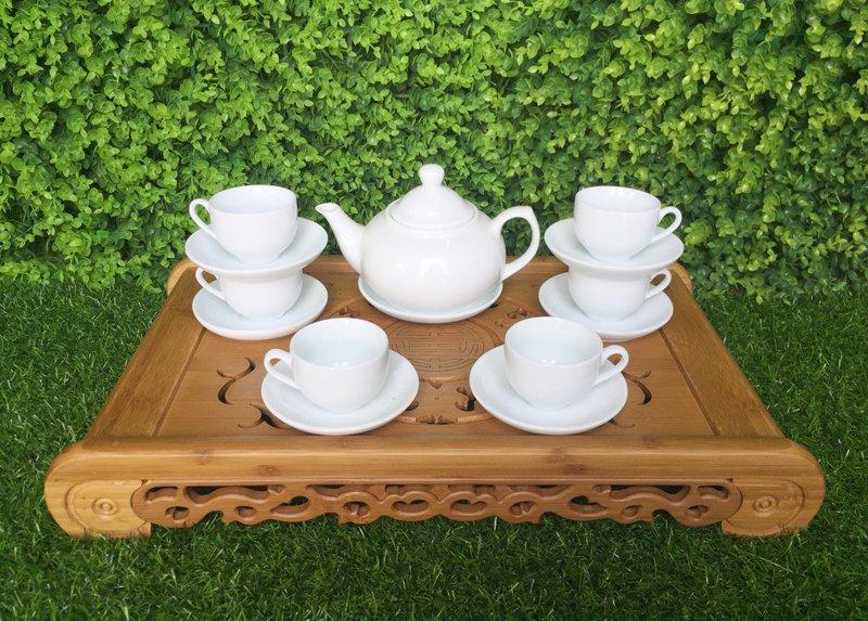Bộ ấm trà trắng đẹp 04
