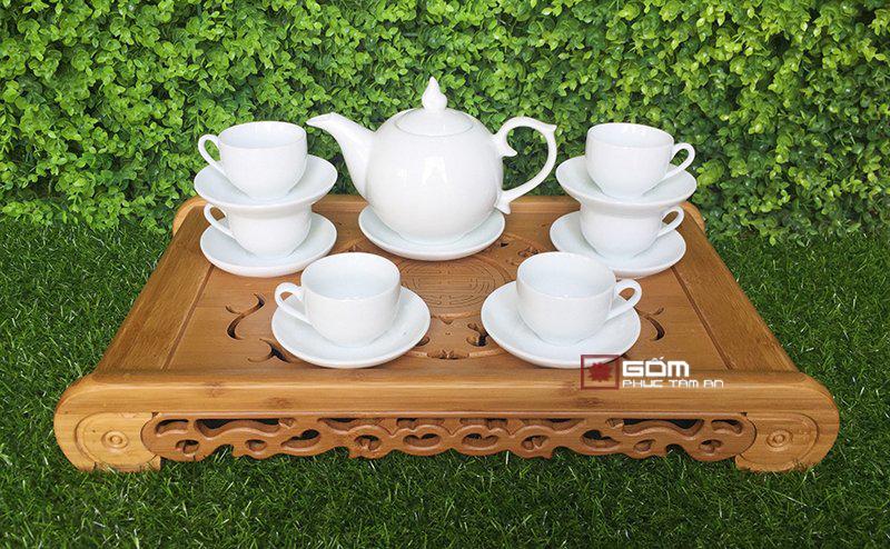Bộ ấm trà trấng đẹp in logo làm quà tặng 07