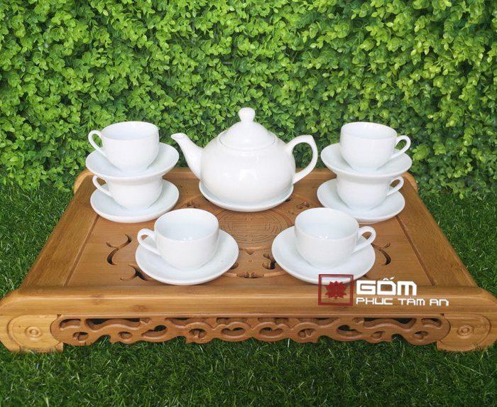 Bộ ấm trà trắng đẹp 05