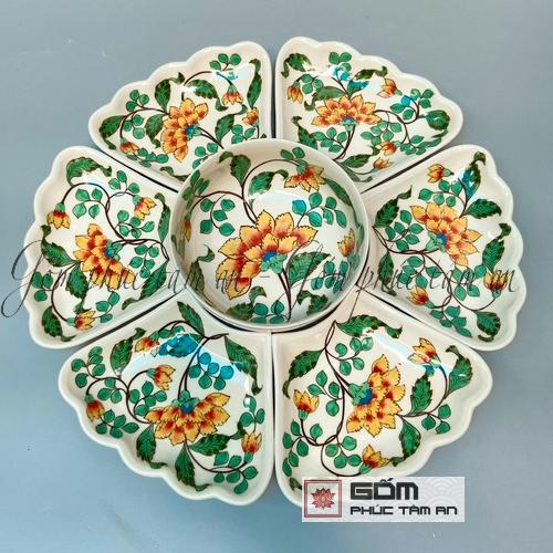 Bát đĩa cao cấp hoa màu sắc đẹp giá rẻ Bát Tràng