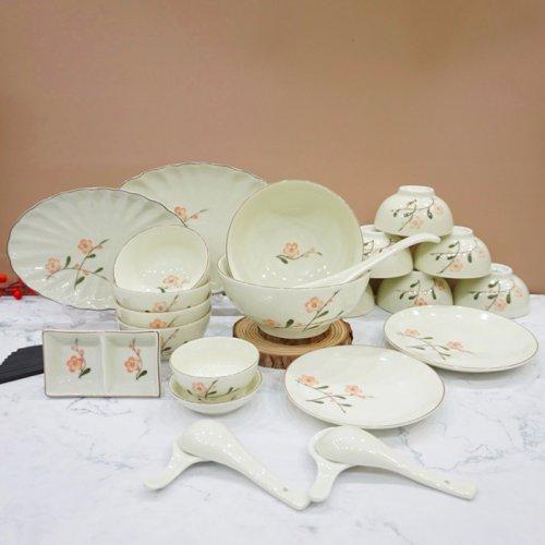 mua bộ bát đĩa cao cấp gốm sứ đẹp hoa đào, mua bộ đồ ăn gốm sứ đẹp bát đĩa cao cấp hoa đào bát tràng, mua bộ đồ ăn gốm sứ đẹp bát đĩa bát tràng
