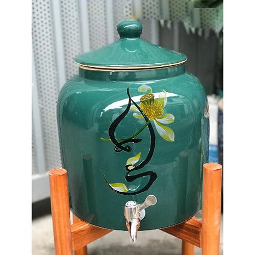 Bình nước uống gốm sứ 8l-10l gốm sứ vòi inox Bát Tràng