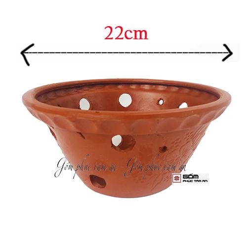 chậu đất trồng lan đất đỏ đường kính 22cm