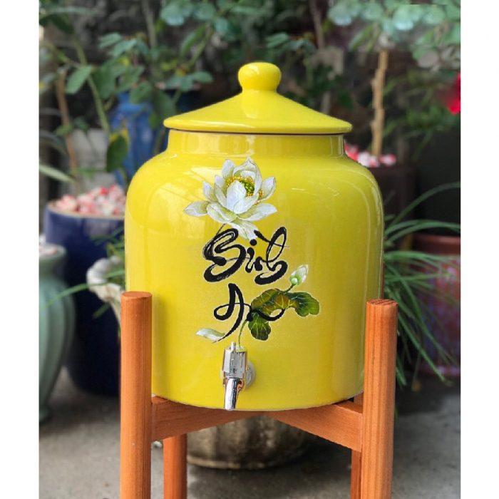 Bình nước gốm sứ Bát Tràng vòi inbox chữ Bình an