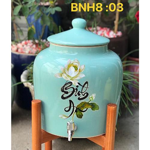 Bình sứ đựng nước gốm sứ Bát Tràng cao cấp 8-10l vòi inox bình an