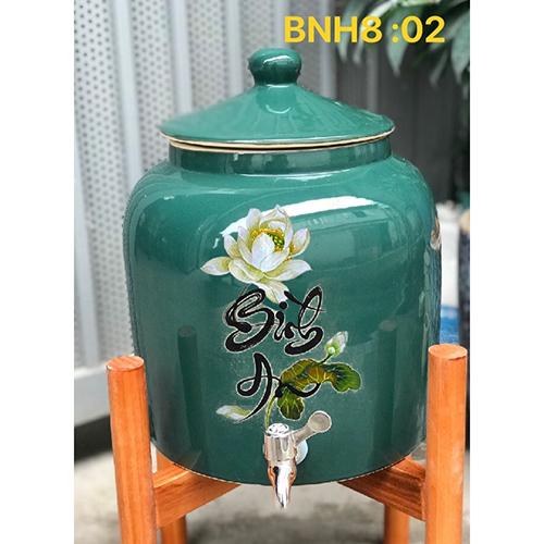Bình sứ đựng nước gốm sứ bình an 8-10l vòi inox