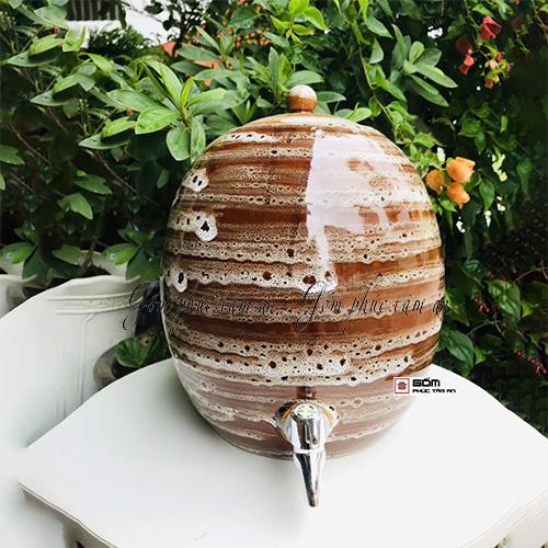 Bình nước gốm sứ bát tràng men nâu hỏa biến