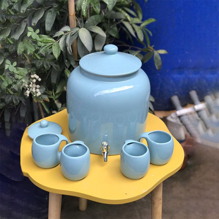 Bình đựng nước bằng gốm vuông xanh dương Bát Tràng