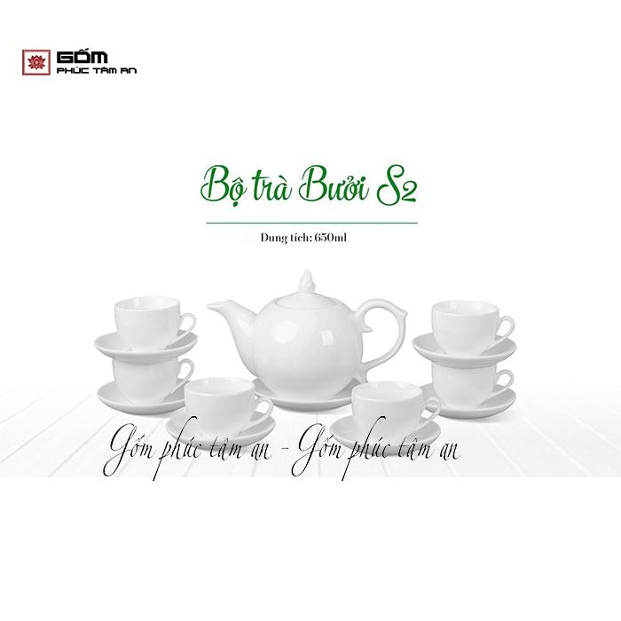 bộ ấm chén bát tràng in logo bộ trà bưởi