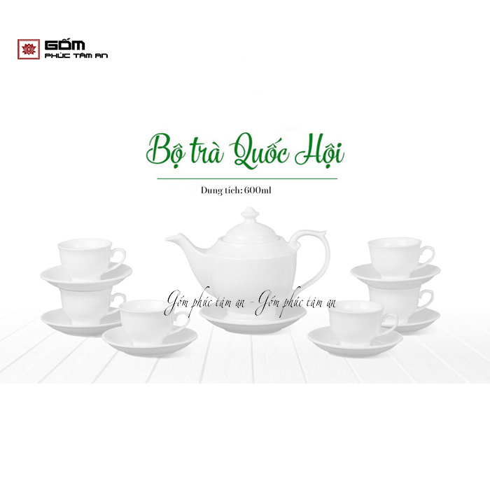 ấm chén bát tràng in logo bộ trà quốc hội