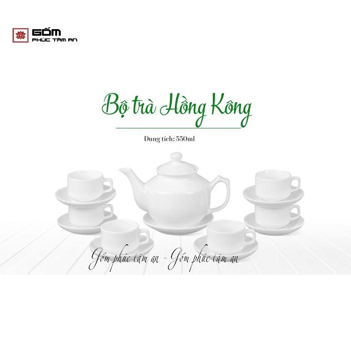 bộ trà hồng công ấm chén bát tràng in logo